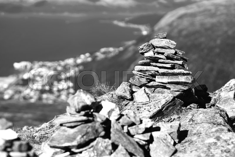 Black and white Norway zen rock towers background hd, stock photo