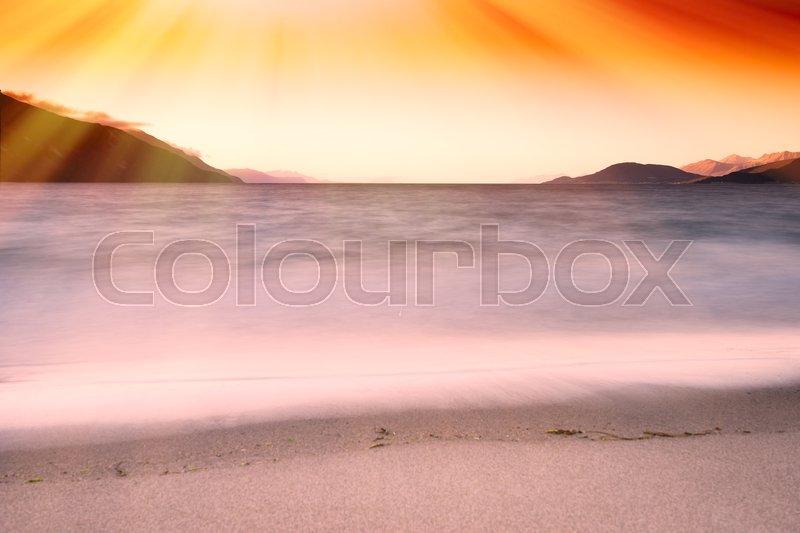 Tidal waves with light leak landscape background hd, stock photo