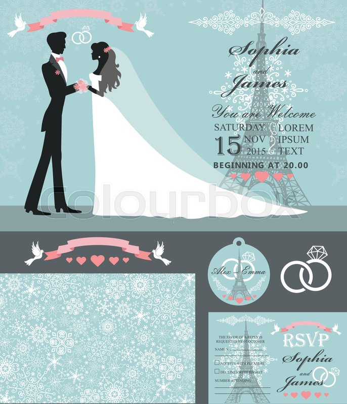wedding design template set winter christmas season bride in white
