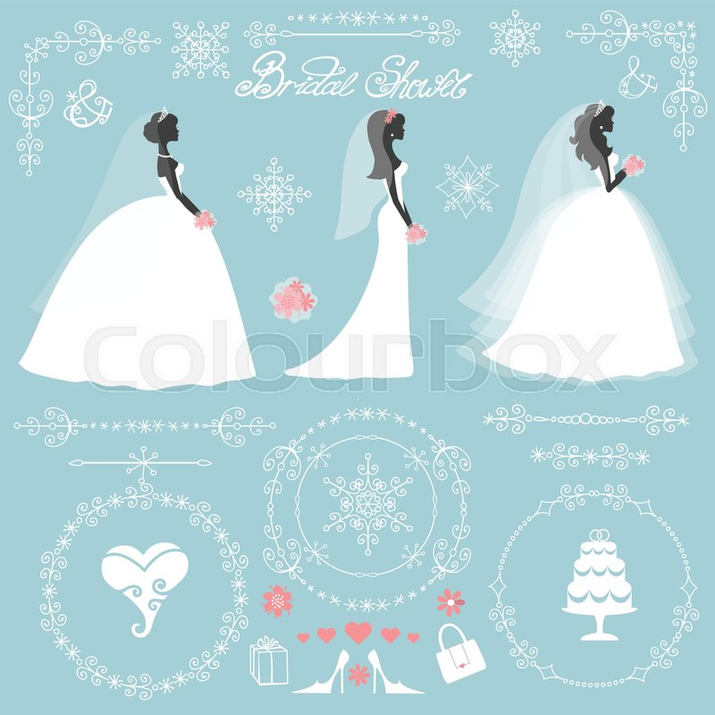 bride in different dress stylewinter bridal shower decor