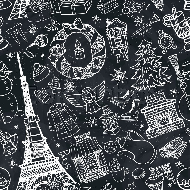 Paris Christmas Seamless PatternNoel Holiday Winter Doodle Symbols