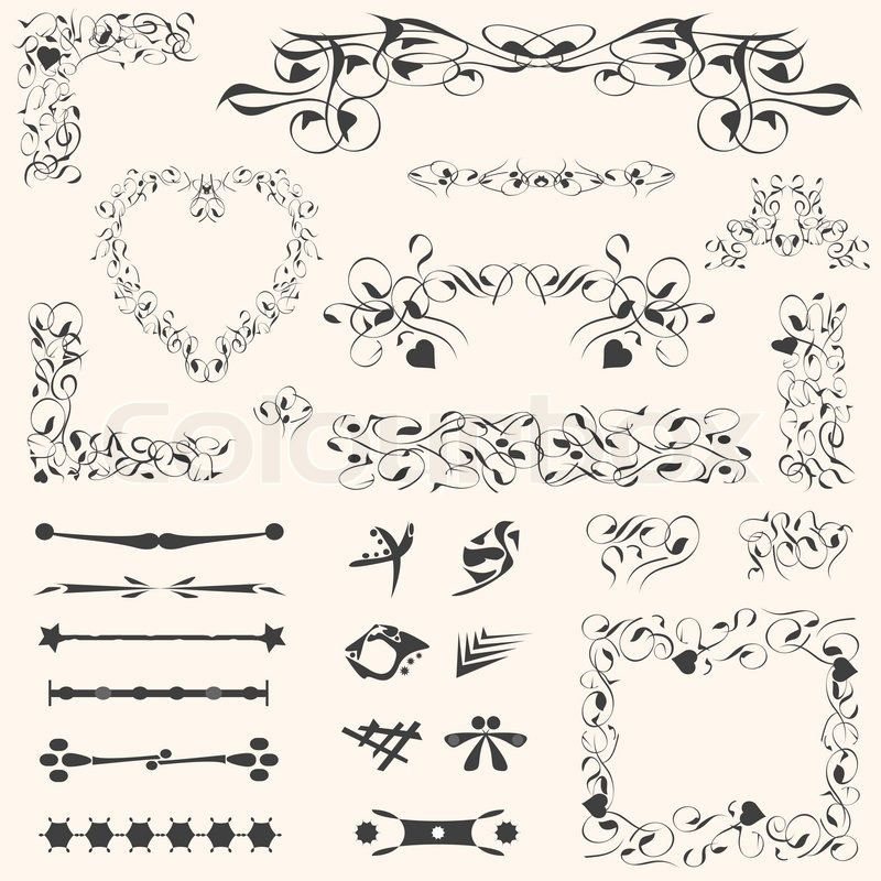 Calligraphic Design Elements And Vintage Page Decoration