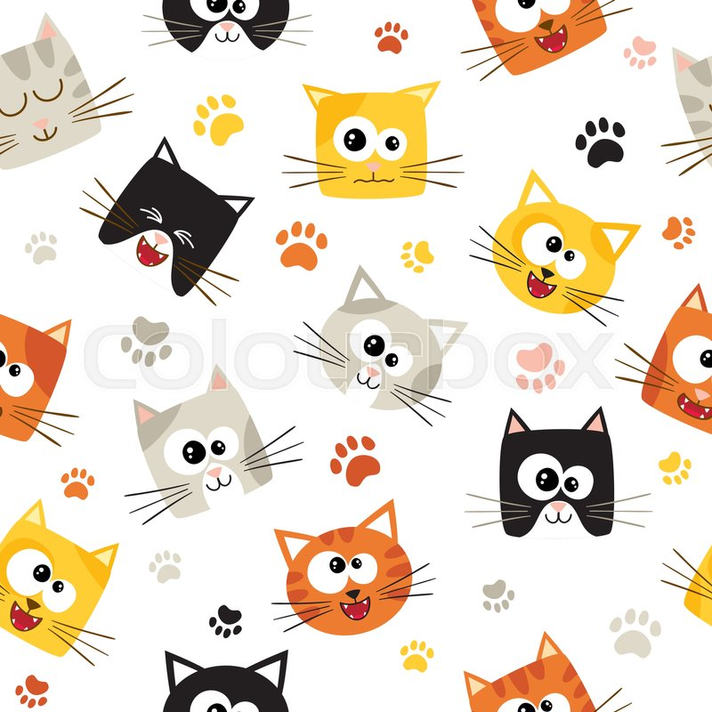 Vector seamless pattern with cute cartoon cats seamless - Cat wallpaper cartoon ...