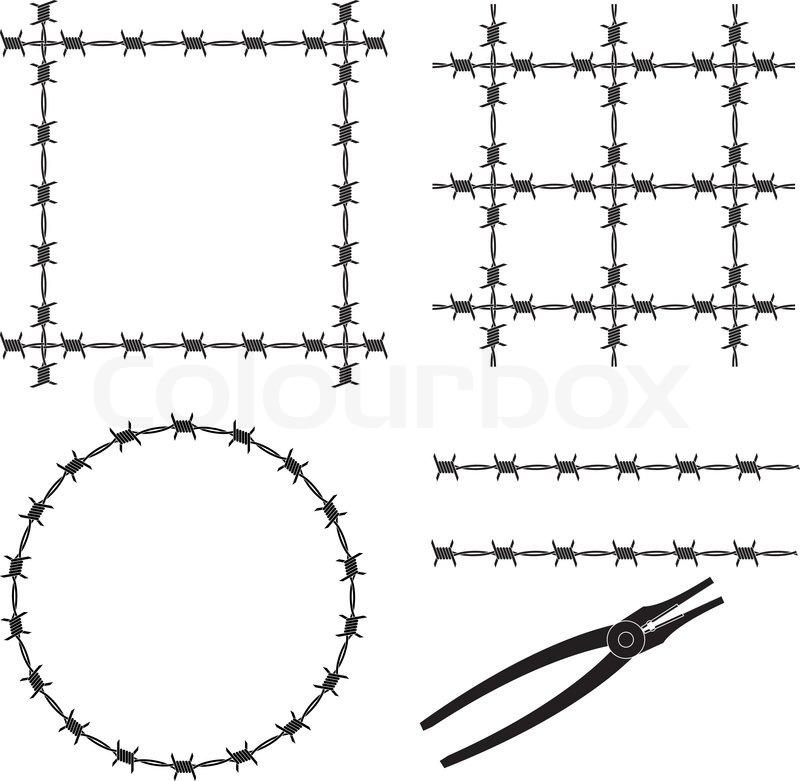 Barbed wire stencil vector illustration stock