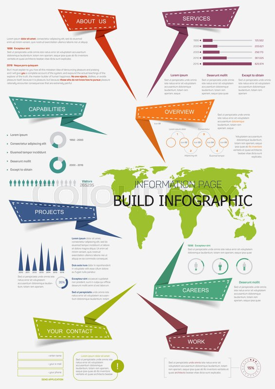 Build infographic with world map presentation information page with build infographic with world map presentation information page with pie chart step diagram and bar graphs text layout with origami arrow header gumiabroncs Image collections
