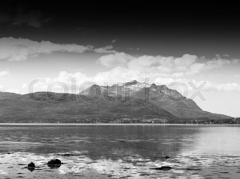 Black and white Norway community landscape background hd, stock photo