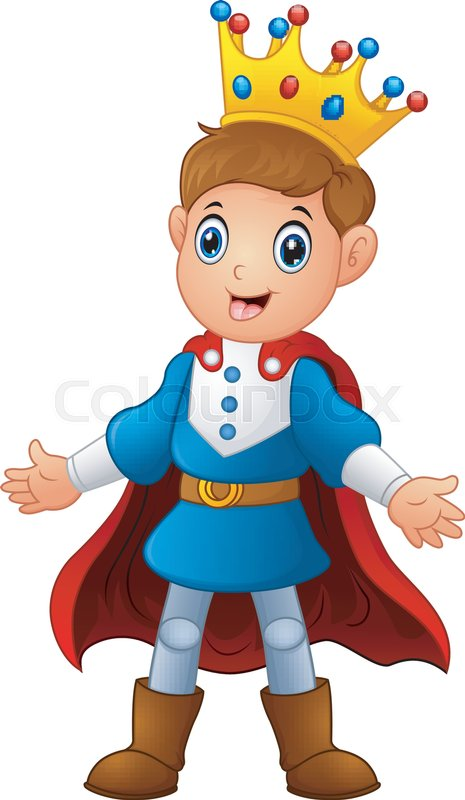 Vector Illustration Of Cute Boy Prince With Red Cloak