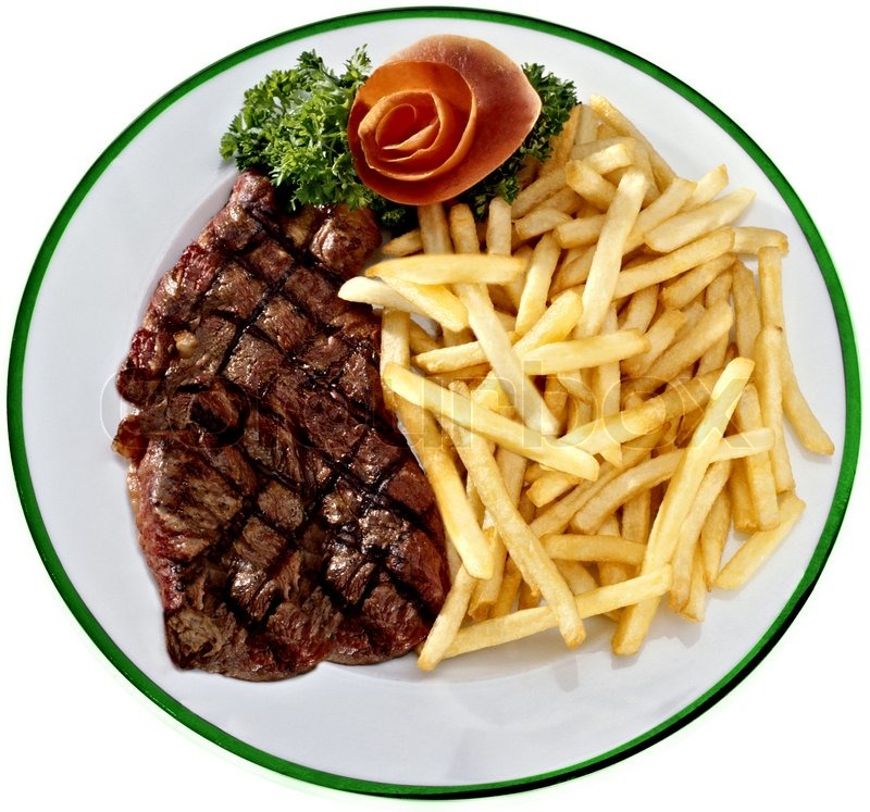 Steak with fried potatoes on a white plate | Stock Photo ...