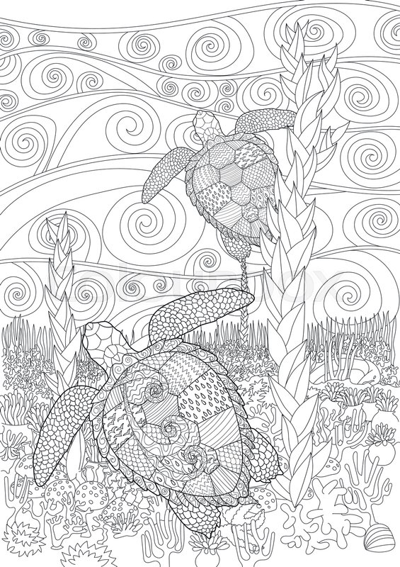 Swimming Sea Turtle For Anti Stress Coloring Page With