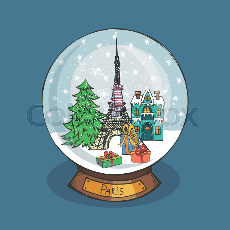 Merry Christmas snow globe with Paris .Doodle Eiffel tower,fir tree ...