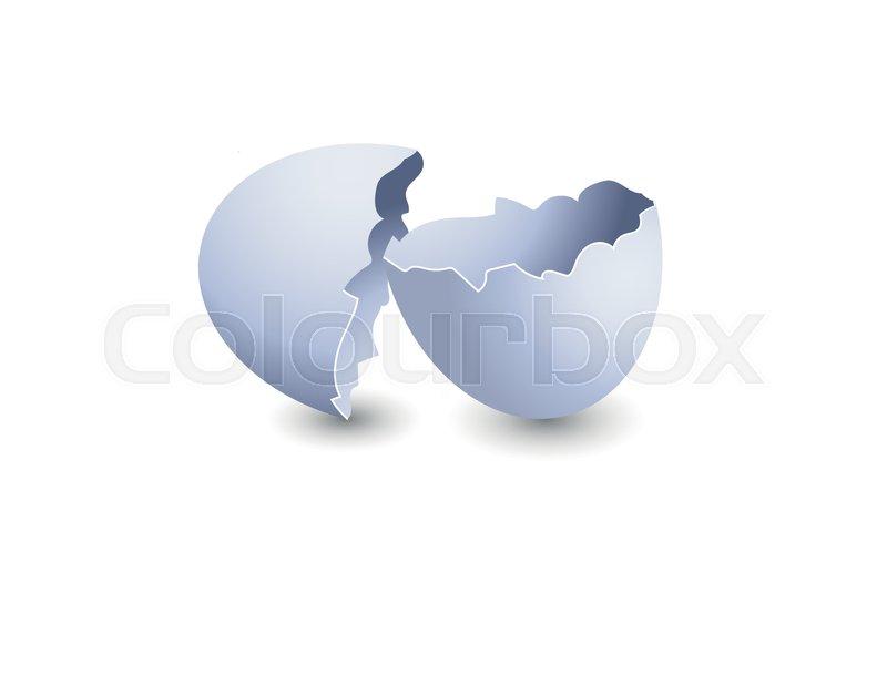 Broken Egg On White Background Broken Stock Vector