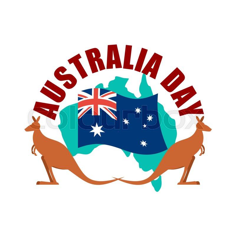 Australia Day Emblem Kangaroo Australian Flag And Map Stock - Australia map kangaroo