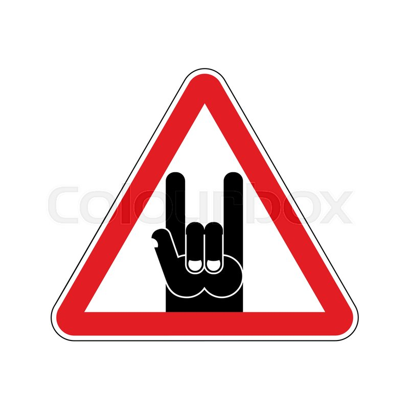 attention rock music warning rock hand symbol danger road sign red triangle stock vector. Black Bedroom Furniture Sets. Home Design Ideas