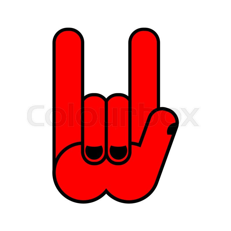 Rock Hand Symbol Of Music Rock And Roll Emblem Isolated Stock