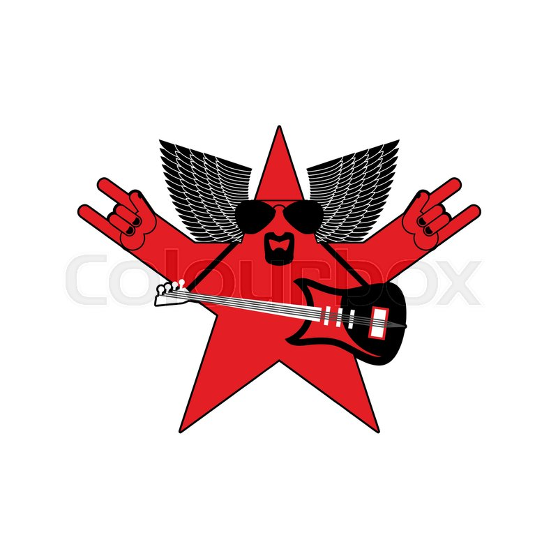 Rock Star Emblem Isolated Guitar And Wings Symbol Of Rock Music