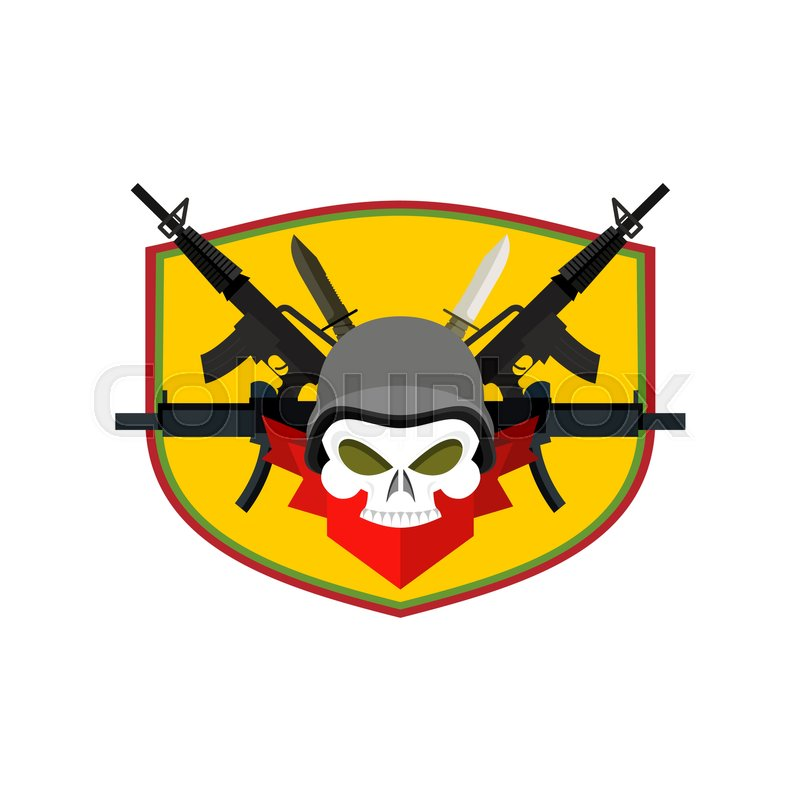 army logo skull soldiers badge military emblem wings and weapons rh colourbox com Pilot Wings Vector Vector Metal Wings