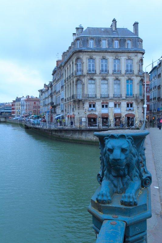 pont pannecau across nive bayonne france stock photo colourbox. Black Bedroom Furniture Sets. Home Design Ideas