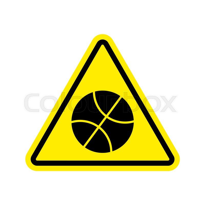 Basketball Warning Sign Yellow Game Hazard Attention Symbol Danger
