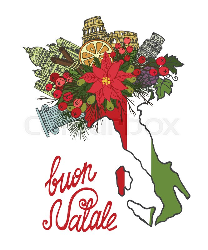 Italy merry christmas greeting cardfamous landmarkmap in boots italy merry christmas greeting cardfamous landmarkmap in boots shoesflowersspruce treeolivesgrapes in holiday bouquetntage hand drawn doodle art m4hsunfo