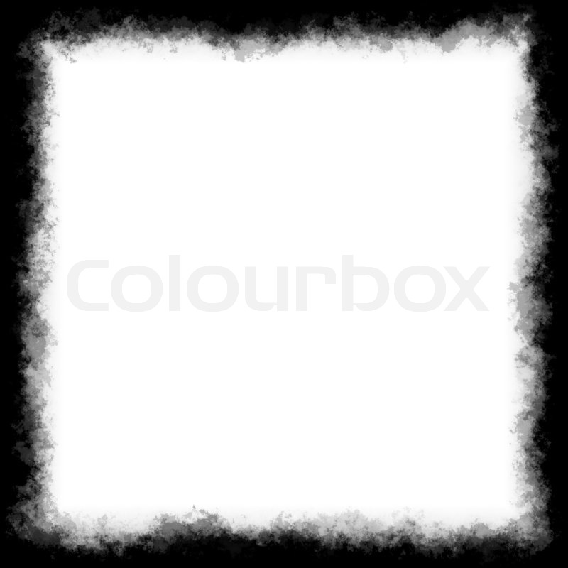 Black and white square border or frame with grungy edges | Stock ...