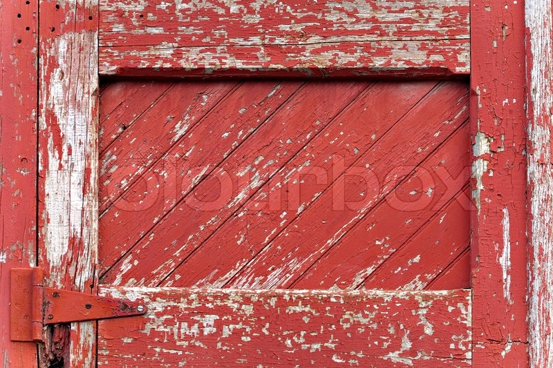 An Old Worn Barn Door Or Wooden Fence Gate With Chipped
