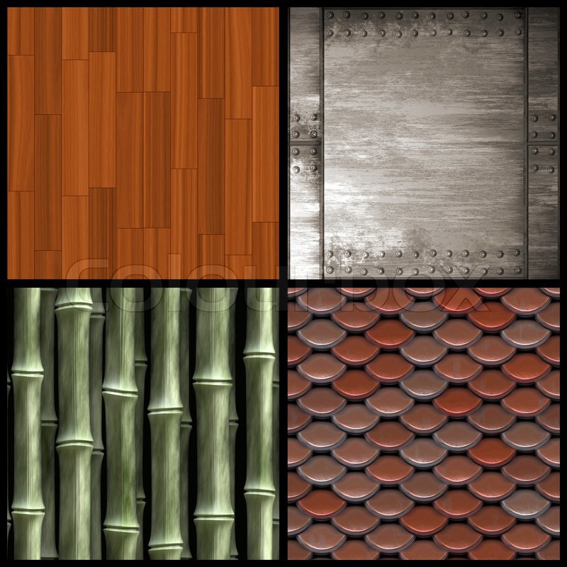 An assortment of four textures including wood parquetry for Bamboo roofing materials