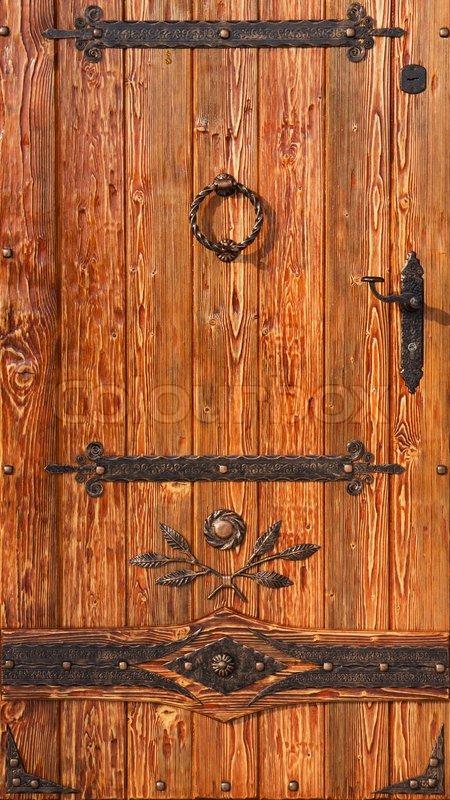 Old Style Wooden Door With Metal Antique Elements Stock