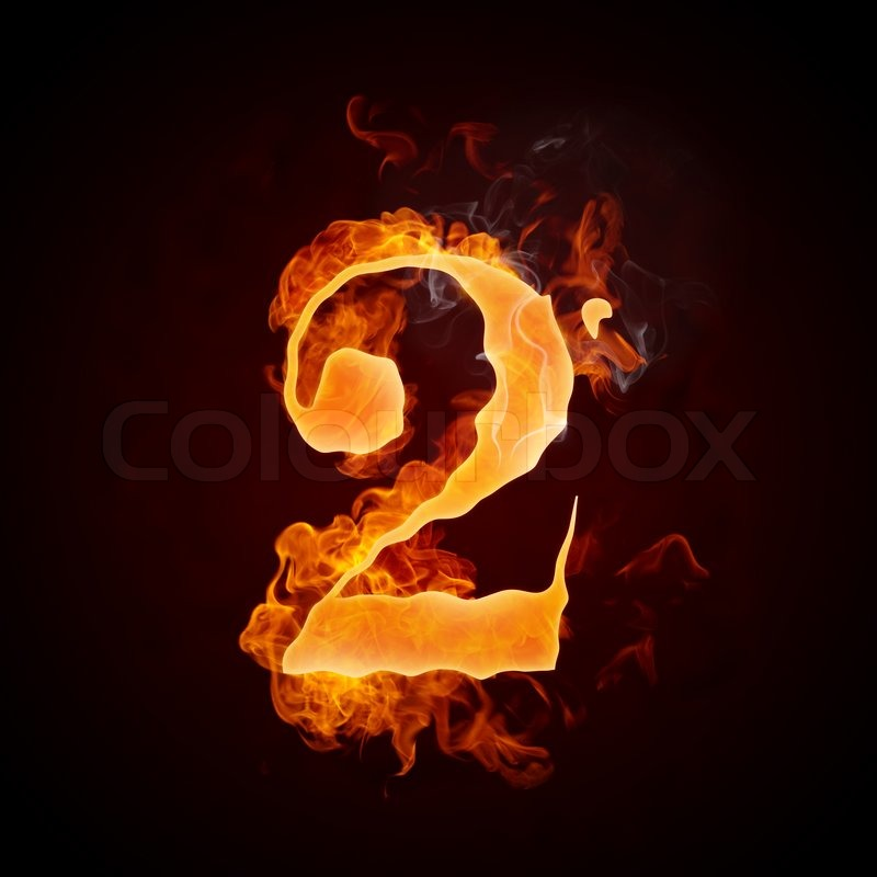 Fire Number 2 Isolated on Black ... | Stock image | Colourbox