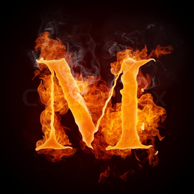 Stock image of 'Fire Letters M Isolated on Black Background'
