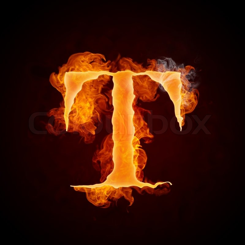 Fire Letter T Isolated On Black Background Stock Photo Colourbox