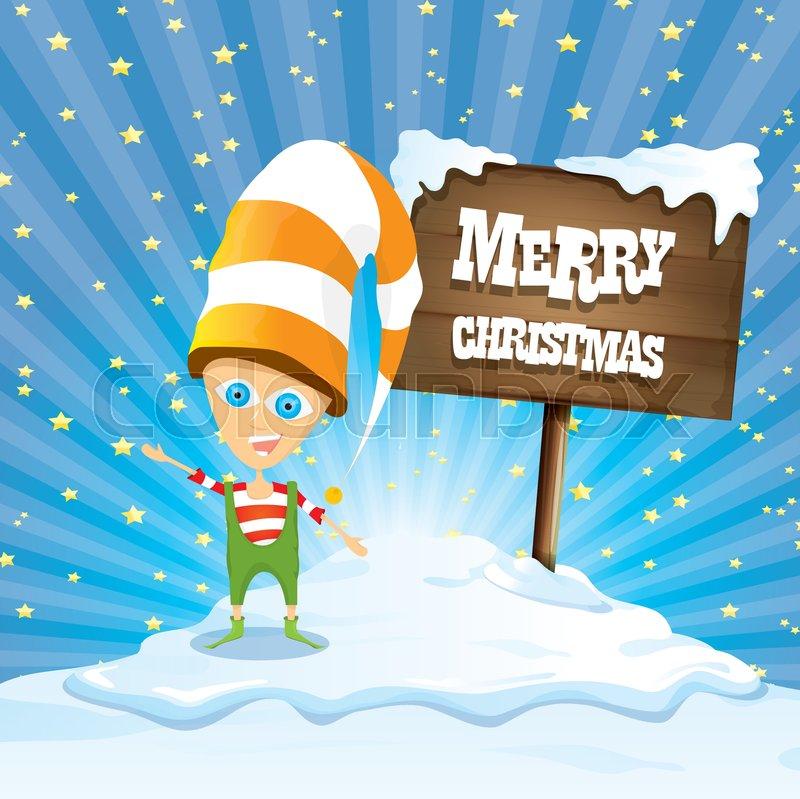 stock vector of vector cartoon cute merry christmas elf standing on winter snow landscape near - Merry Christmas Elf