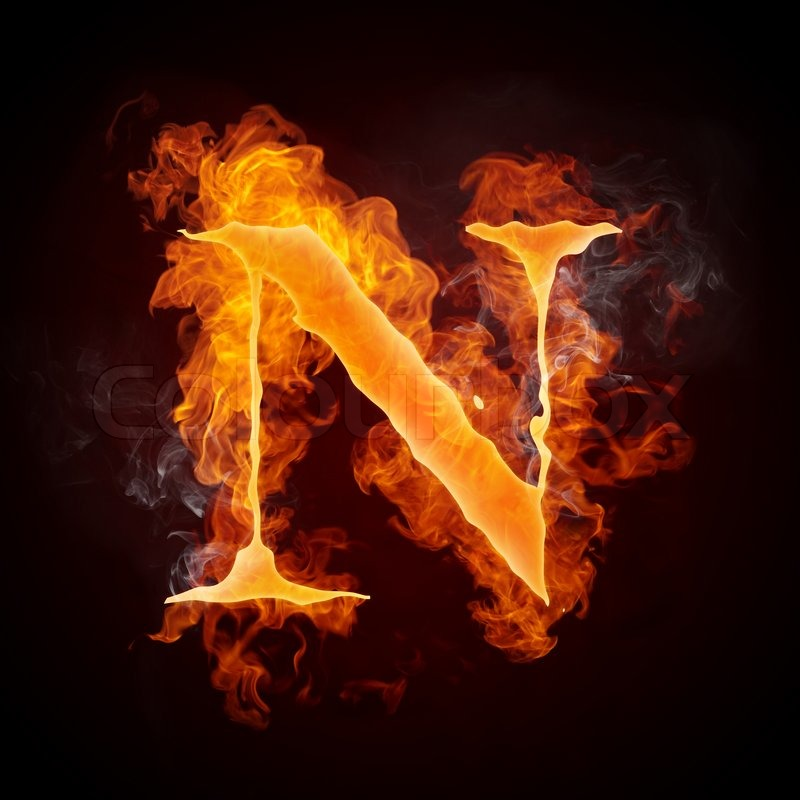 Fire Letters N Isolated On Black Background Stock Photo Colourbox
