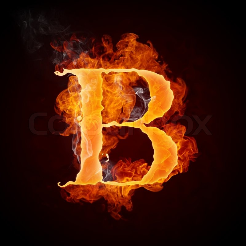 Fire Letter B Isolated On Black Background