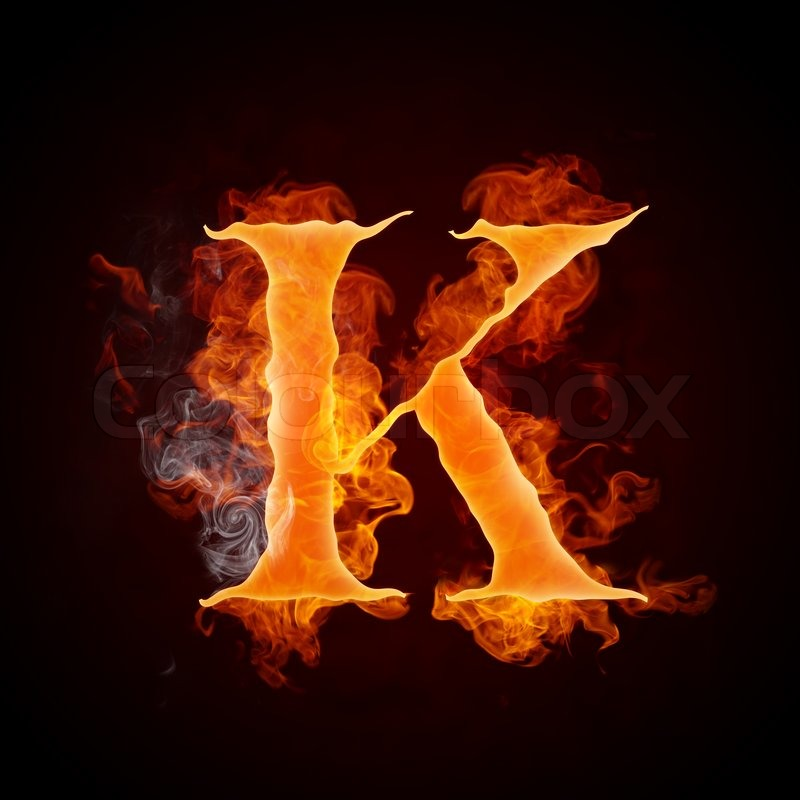 Fire Letter K Isolated...K Logo In Fire