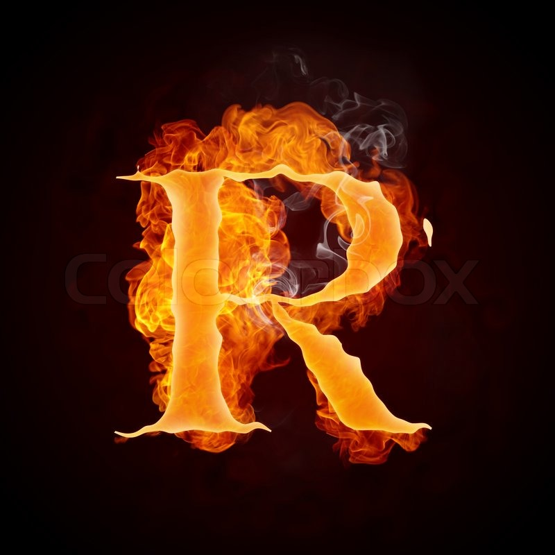 Fire Letter R Isolated On Black Stock Image Colourbox