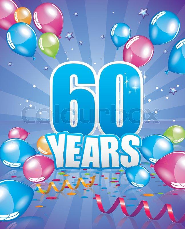 60 Years Birthday Card Full Vector