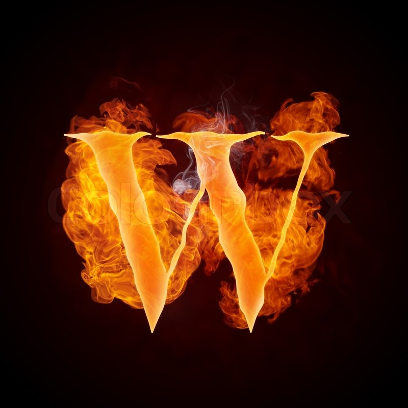 Fire Swirl Letter W Isolated On Black Background Stock Photo