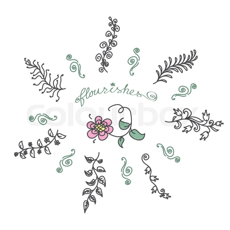 Vintage Set Of Hand Drawn Rustic Laurels Floral Vector Graphic Nature Design Elements