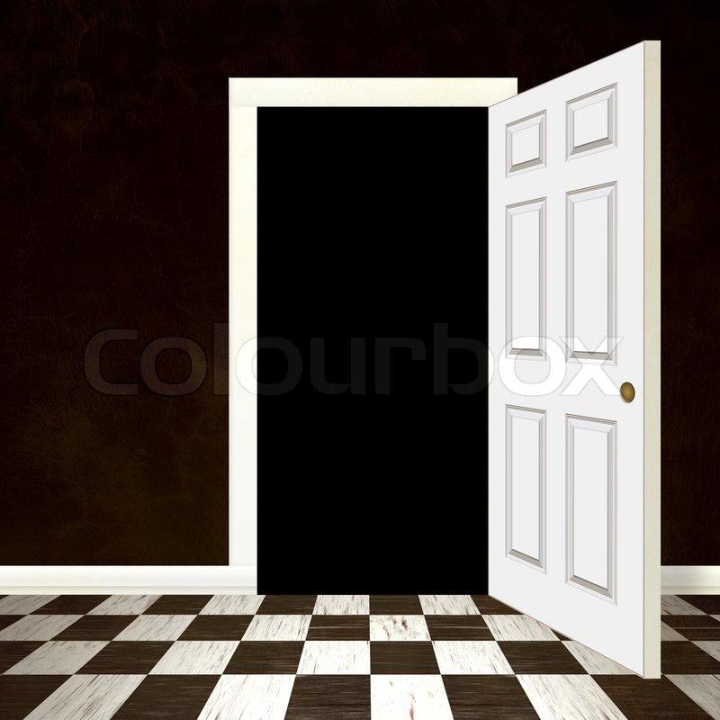 Geöffnete tür  Eine geöffnete Tür oder Eingang führt zu einem blauen Himmel mit ...