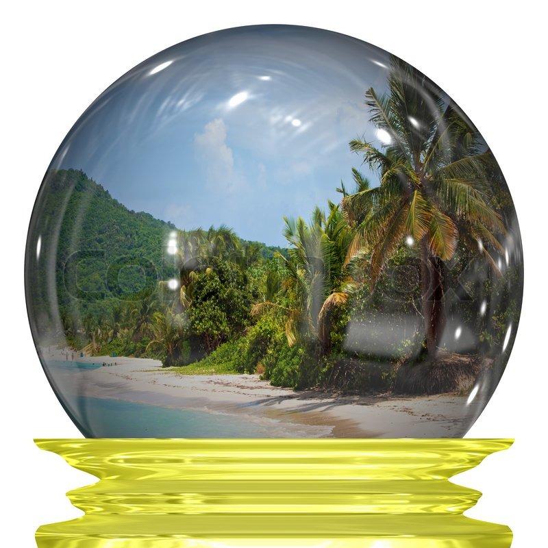 eine schneekugel mit einem bild von einer tropischen. Black Bedroom Furniture Sets. Home Design Ideas
