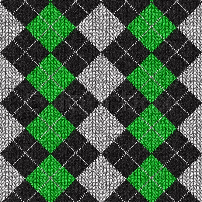 A Green And Black Plaid Argyle Pattern Stock Photo