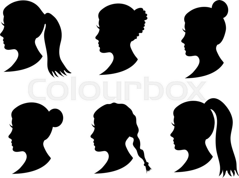 set of black silhouette girl head with different hairstyle tail ponytail bun braid hairstyle young women face in profile with long hair