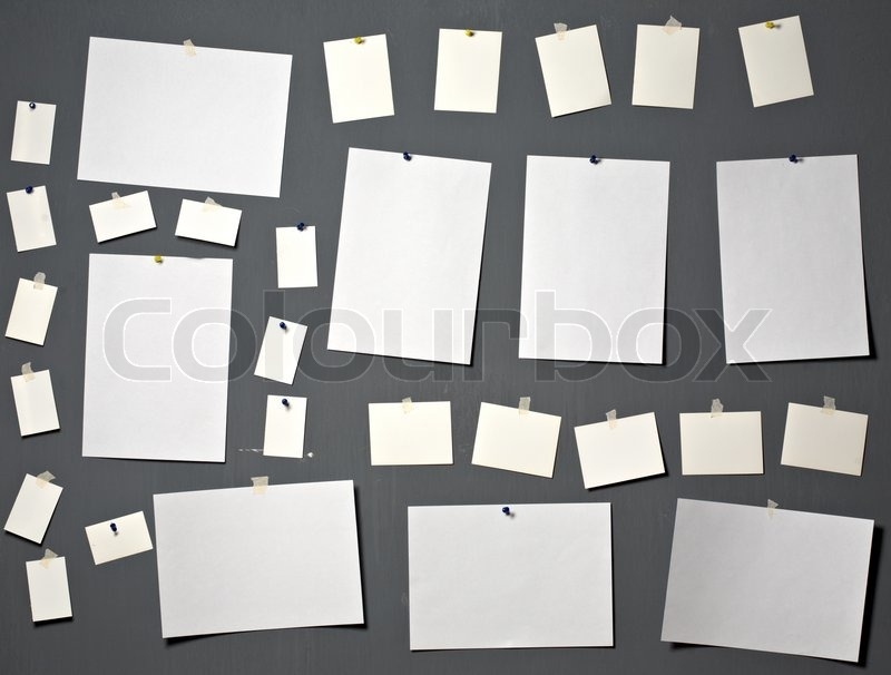 white photo paper attach to gray wall stock photo colourbox