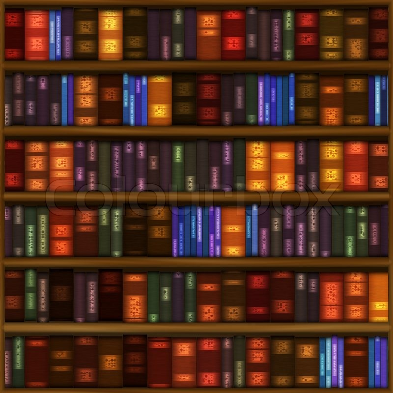 A Seamless Book Shelf Pattern With Rows Of Colorful Bound