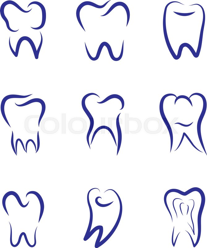 set modern vector logo for dentistry logo for dental clinic teeth