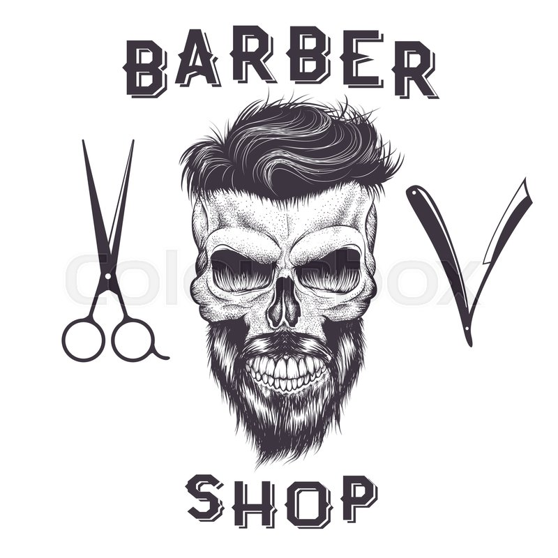 Skull Of Human With Hairstyle And BeardBarber ShopVector Illustration
