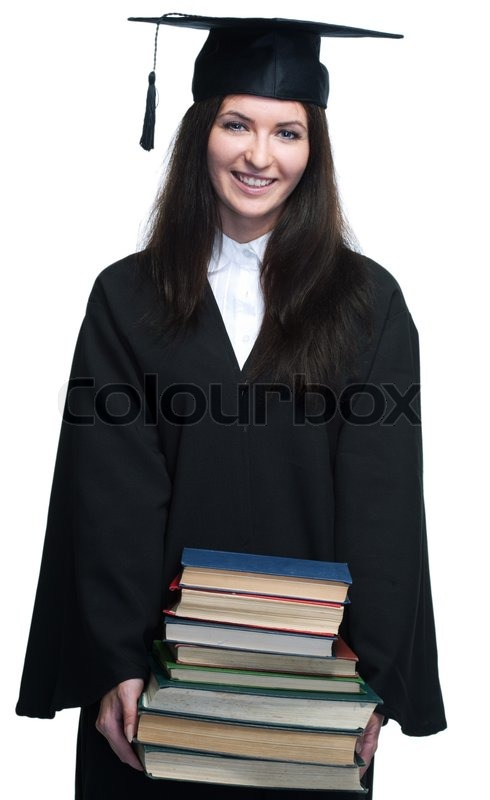 Stock image of 'Young beauty graduate woman on white background'