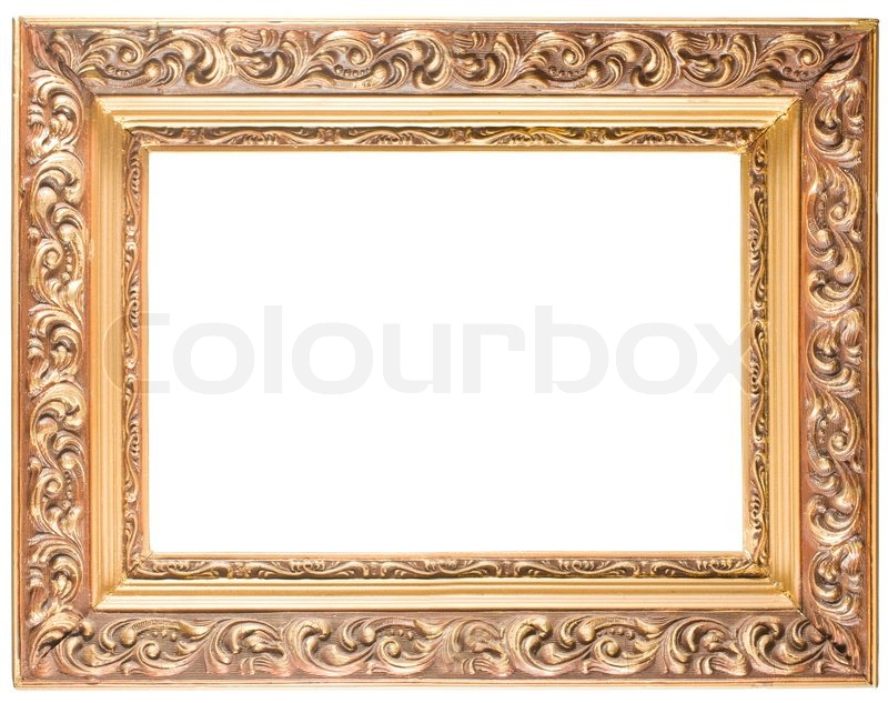 a486a3cd2b2d Golden old frame isolated on white