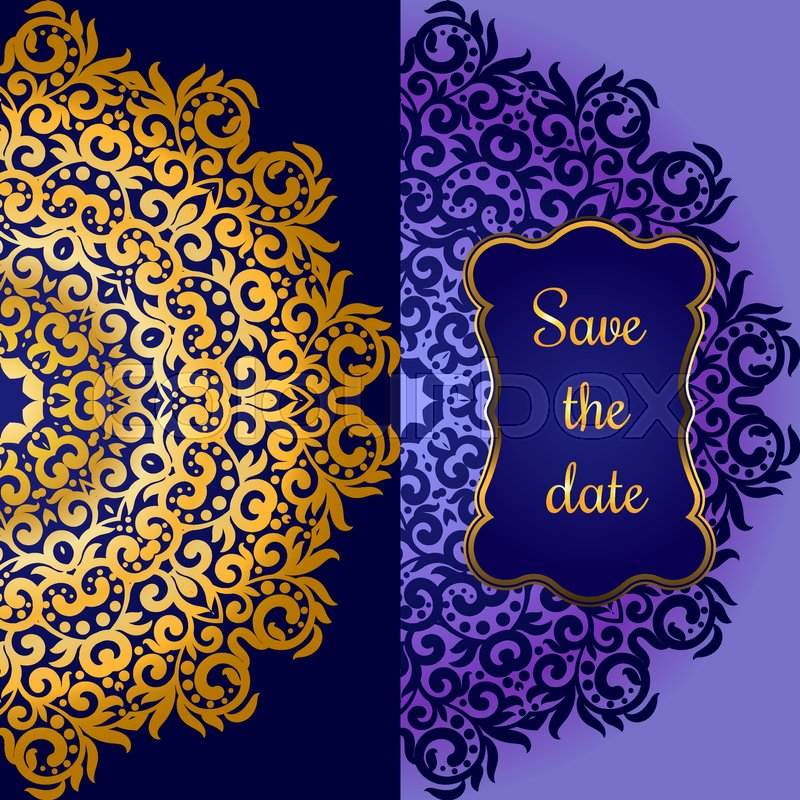 Rich Gold Invitation Card In The Indian Style Bohemian Cards With