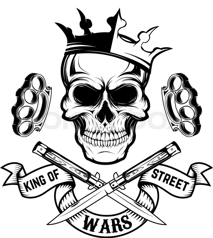 King Of Street Wars. Skull In Crown With Banner And Two